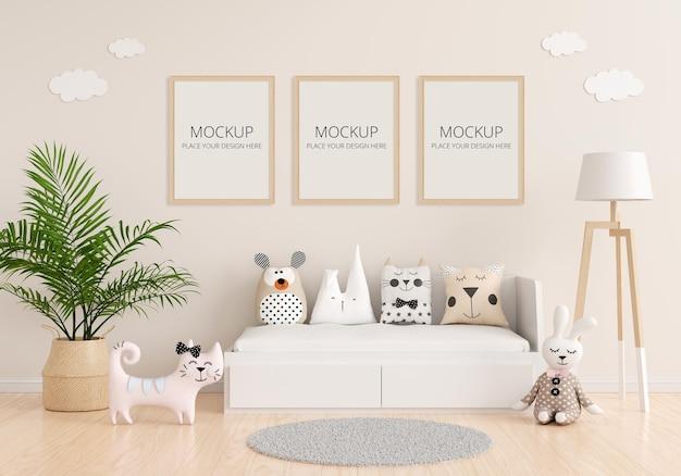 Interno camera da letto bambino con mockup telaio