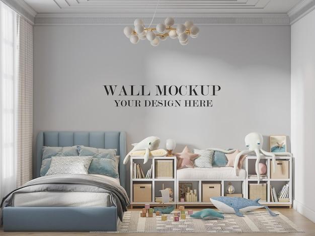 Mockup della parete della camera da letto del bambino nella scena 3d