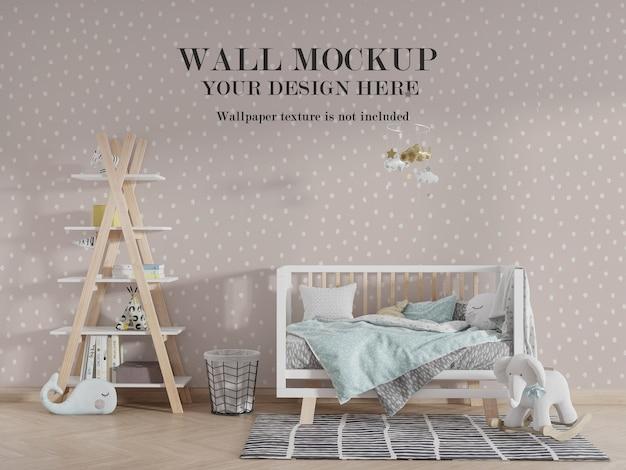 Mockup di mockup di parete per camera da letto bambino con idee di accessori