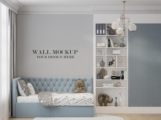 Modello di parete della stanza dei bambini dietro il letto azzurro in rendering 3d
