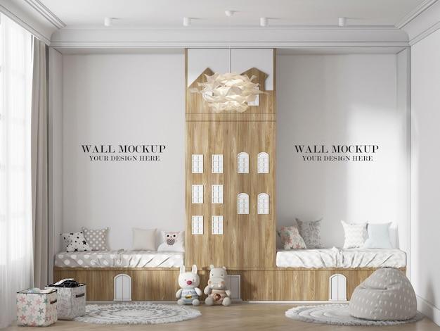 Mockup della parete della camera da letto dei bambini con armadio a forma di casa all'interno