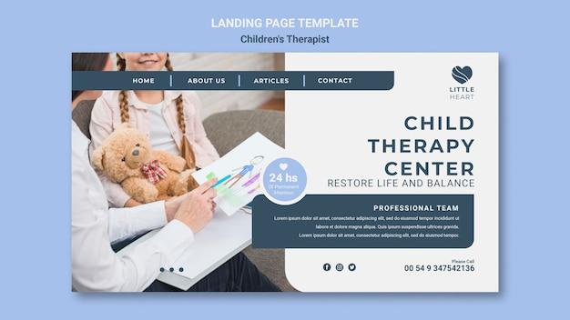 Modello di pagina di destinazione del concetto di terapista per bambini