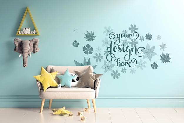 Design mockup della parete della stanza dei bambini