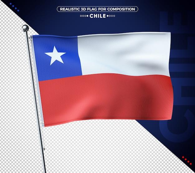 Bandiera del cile 3d con texture realistica
