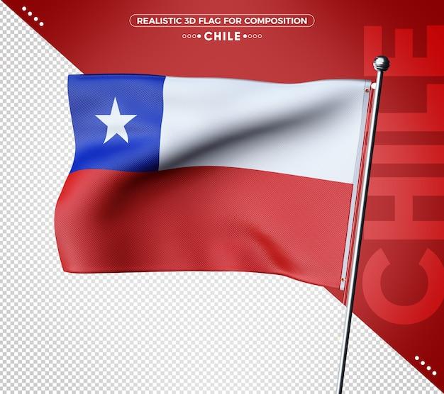 Bandiera del cile 3d con texture per la composizione