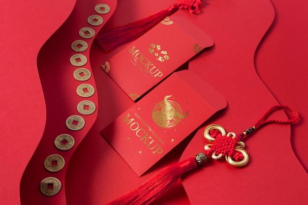 Disposizione isometrica degli elementi di mock-up del nuovo anno cinese