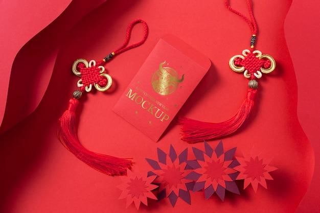 Composizione di elementi di mock-up isometrica del nuovo anno cinese