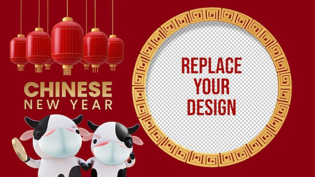 Capodanno cinese mockup 3d rendering design