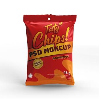 Vista frontale del mockup del pacchetto alimentare del prodotto del sacchetto della stagnola di plastica dello spuntino del chip
