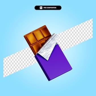 Il cioccolato 3d rende l'illustrazione isolata