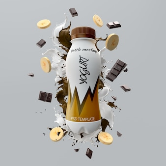Mockup di yogurt e banana al cioccolato