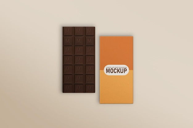 Chocolate bar e chocolate bar box mockup Psd Premium