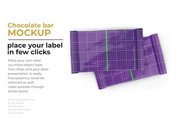 Progettazione di mockup di barrette di cioccolato in rendering 3d