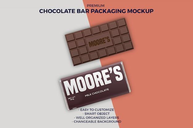 Mockup di confezionamento di barrette di cioccolato