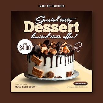 Modello di progettazione post banner social media torta al cioccolato