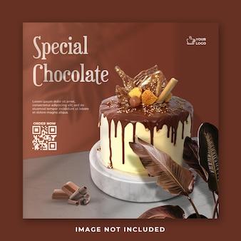 Modello di banner post social media torta al cioccolato