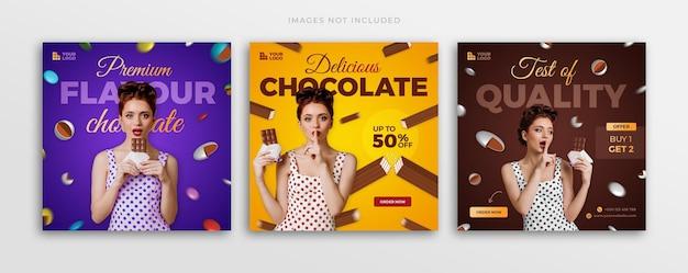 Modello di banner post social media caramelle al cioccolato o design post instagram chocobar flyer