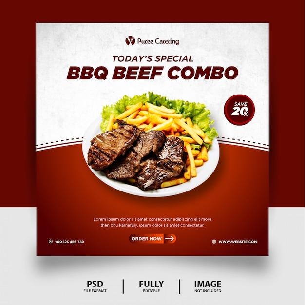 Banner post social media di colore cioccolato speciale barbecue cibo
