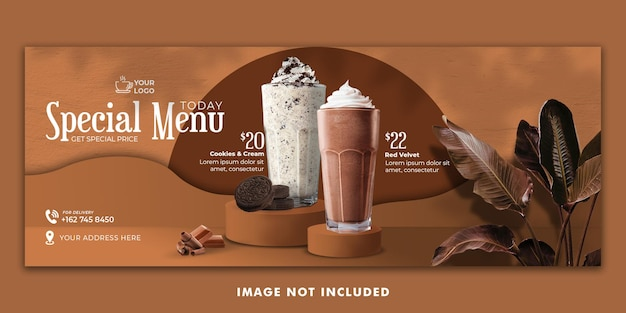 Modello di banner copertina di facebook menu bevanda al cioccolato per la promozione del ristorante