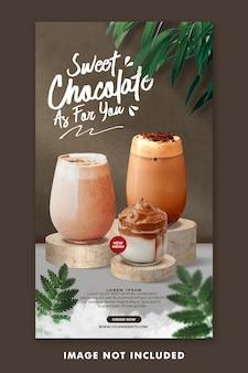 Modello di storie di instagram di social media per il menu di bevande al cioccolato per la promozione del ristorante