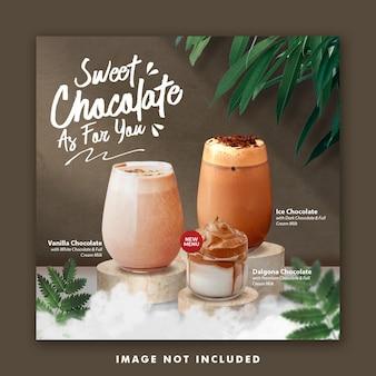 Modello di post sui social media per menu di bevande al cioccolato per ristorante di promozione
