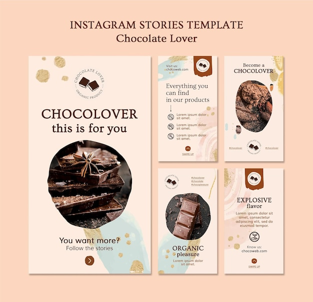 Modello di storie instagram amante del cioccolato