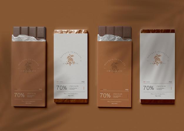 Mockup di imballaggio al cioccolato