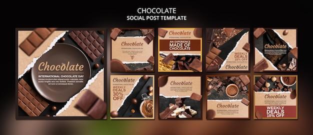 Modello di post sui social media del negozio di cioccolato