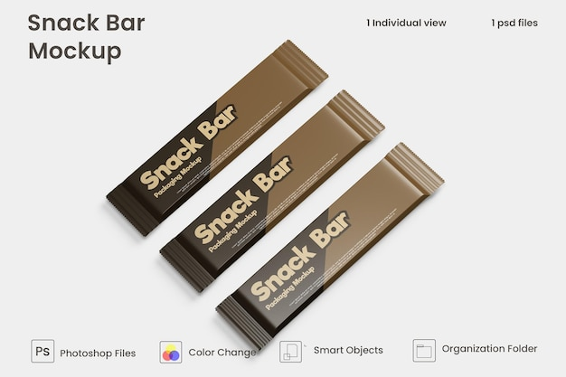 Mockup di confezione di snack al cioccolato psd premium