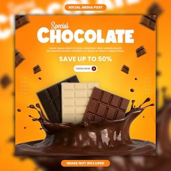 Social media cioccolato e modello di post instagram