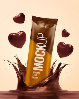 Mockup pubblicitario di san valentino con spruzzata di cioccolato