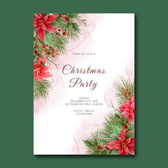 Modello di festa di natale con decorazioni in foglia di pino e ornamenti natalizi