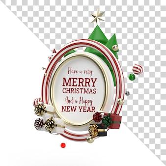 Natale 3d rendering oggetto volante con ornamento di natale vista laterale mockup trasparente
