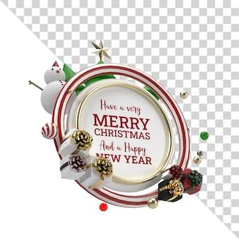 Natale 3d render mockup oggetto volante con ornamento di natale vista laterale trasparente