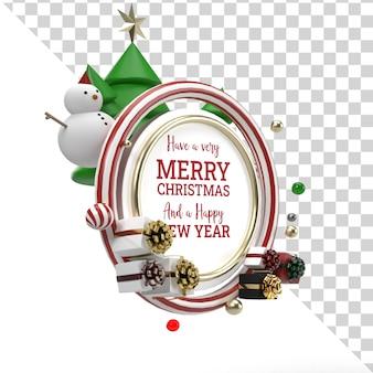 Natale 3d render mockup oggetto volante con vista laterale ornamento di natale Psd Premium