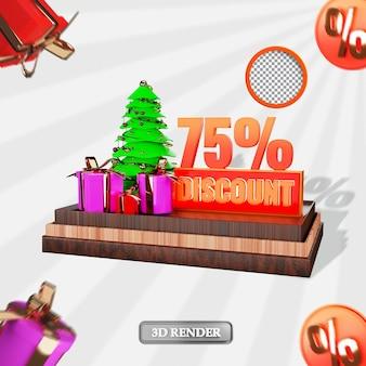 Natale 75% sconto vendita etichetta 3d reso illustrazione
