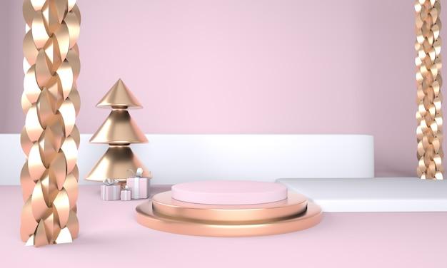 Sfondo di natale con albero di natale e palco per la visualizzazione del prodotto rendering 3d