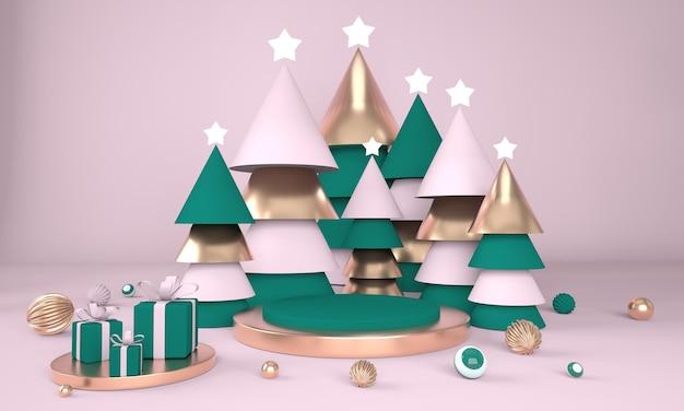 Sfondo di natale con albero di natale e palco per la visualizzazione del prodotto nel rendering 3d