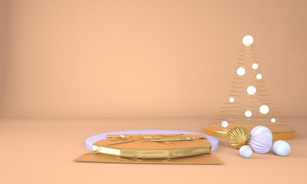 Sfondo di natale con albero di natale e palco per il rendering 3d displayin prodotto