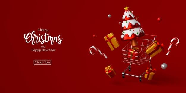 Banner pubblicitario di natale per la vendita di natale e capodanno, illustrazione 3d