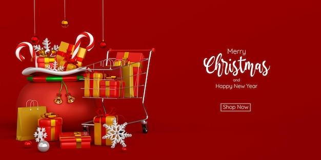 Banner pubblicitario natalizio per carrello di vendita di natale e capodanno con borsa di natale, illustrazione 3d