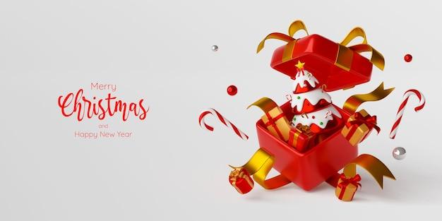 Banner di natale dell'albero di natale con regalo in una grande scatola regalo, illustrazione 3d