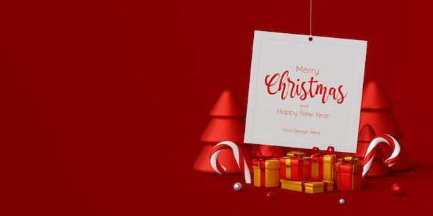 Banner di natale di cornice per foto con scatola regalo di natale, illustrazione 3d
