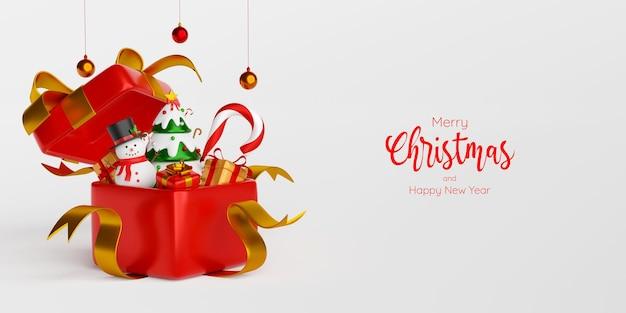 Scena della cartolina dell'insegna di natale del pupazzo di neve con l'albero di natale in scatola regalo, illustrazione 3d