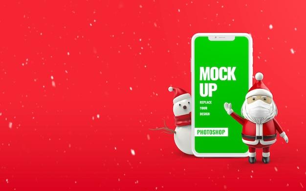 Mockup di telefono pupazzo di neve banner di natale