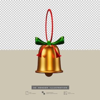 Campana di natale con illustrazione 3d fiocco verde e rosso