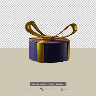 Scatola regalo rotonda blu di natale con l'illustrazione 3d di stile dell'argilla dell'arco dell'oro