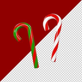 Il bastoncino di zucchero di natale ha isolato il rendering 3d
