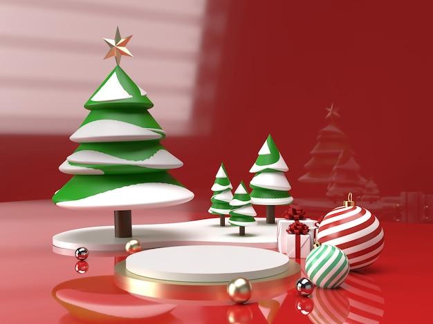 Celebrazione di natale con albero di natale, palla e regalo scena della fase del prodotto 3d