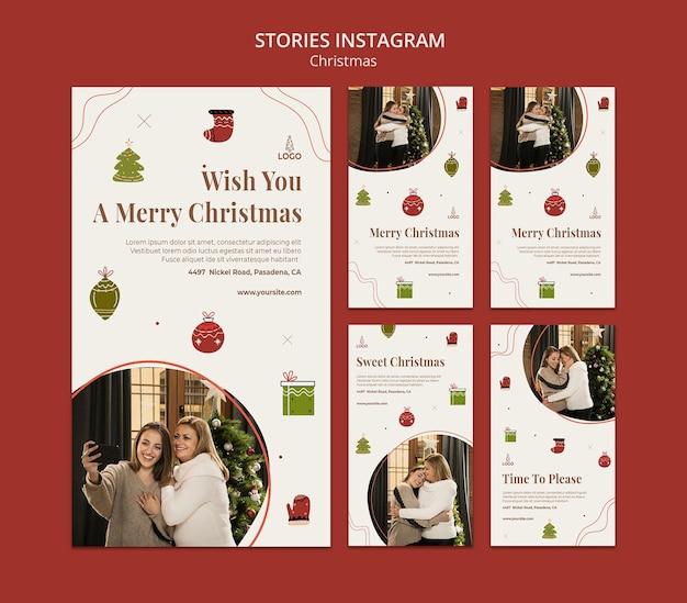 Modello di storie di instagram di concetto di natale